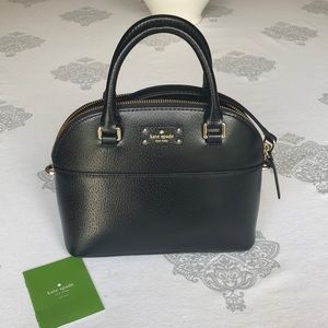 NWT: Kate Spade Mini Carli Black Leather Satchel.